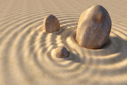 3d concept of the stone and sand composition